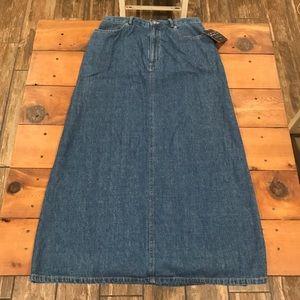 Vintage Liz Claiborne Long Blue Denim Jean Skirt